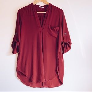 LUSH Oversized 3/4 sleeve V-Neck Blouse